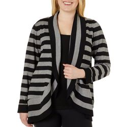 Pointelle Plus Striped Open Front Cardigan