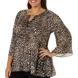 Spense Plus Cheetah Print Ruffle Sleeve Top