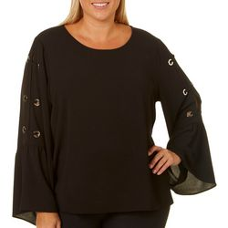 Spense Plus Solid Lace Up Bell Sleeve Top