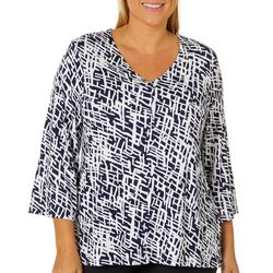 Grayson Plus Scratchy Stripe Print V-Neck Top
