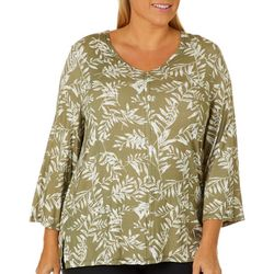 Grayson Plus Palm Leaf Print V-Neck Top