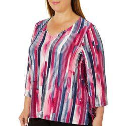Grayson Plus Textured Stripe Print Top