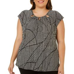 Grayson Plus Abstract Dot Textured Beaded Neck Top