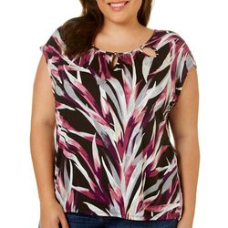 Grayson Plus Leaf Print Beaded Neck Top