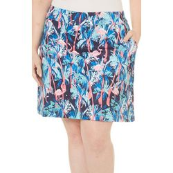 Coral Bay Energy Plus Flamingo Palm Tree Print Skort
