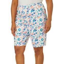 Plus Floral Print Pull On Bermuda Shorts