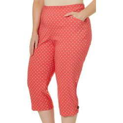 Coral Bay Plus Geometric Floral Print Pull On Capris