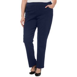 Coral Bay Plus Solid Pull On Super Stretch Pants