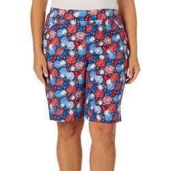 Coral Bay Plus Americana Firework Print Bermuda Shorts