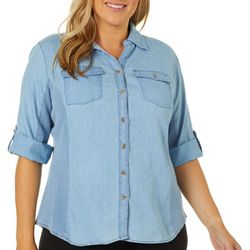 Coral Bay Plus Denim Knit To Fit Button Down Top