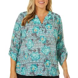 Coral Bay Plus Geometric Floral Button Placket Top