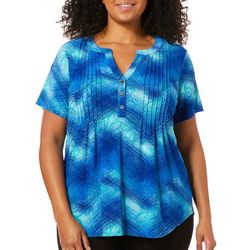 Coral Bay Plus Embroidered Pleated Tie Dye Top