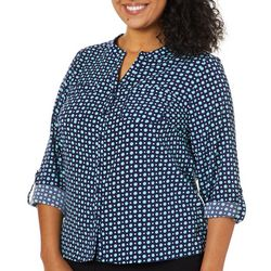 Coral Bay Plus Polka Dot Pocket Button Down Top