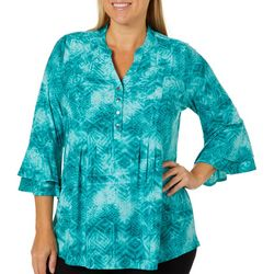 Coral Bay Plus Swirl Breeze Aztec Graphic Bell Sleeve Top