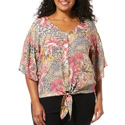 Coral Bay Plus Tropical Animal Print Tie Front Top