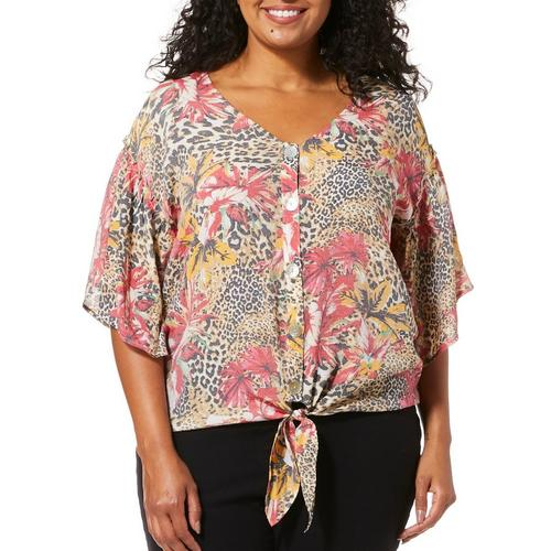ecfea3ad47d Coral Bay Plus Tropical Animal Print Tie Front Top