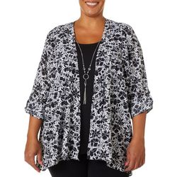 Coral Bay Plus Floral Roll Tab Duo Top & Necklace