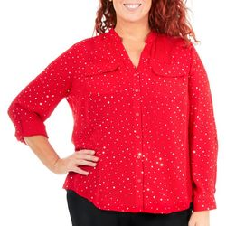 Coral Bay Plus Polka Dot Print Button Down Top