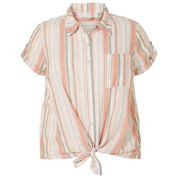 Coral Bay Plus Striped Linen Button Down Tie Front Top