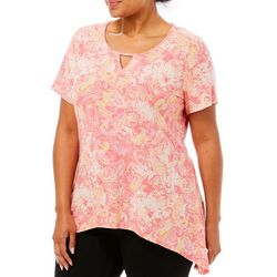 Coral Bay Plus Key Hole Paisley Print Top