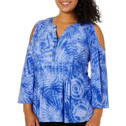 Coral Bay Plus Swirled Pleated Cold Shoulder Top