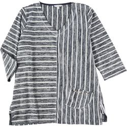 Coral Bay Plus Stripe Pocketed Hacci 3/4 Sleeve Top