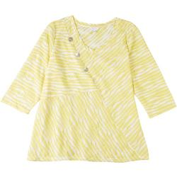 Plus Striped Spliced Button Accent Top