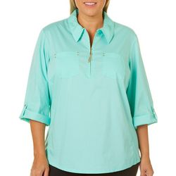 Coral Bay Plus Solid Zipper Placket Top