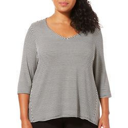 Coral Bay Plus Striped V-Neck Top