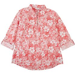 Coral Bay Plus Hibiscus Zip Placket Johnny Collar Shirt