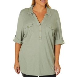 Coral Bay Plus Solid Button Placket Top