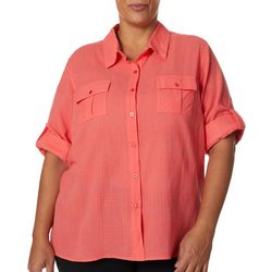 Coral Bay Plus Solid Button Down Slub Top