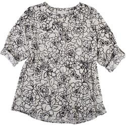 Plus Floral Waffle Knit Top