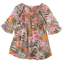 Coral Bay Plus Floral & Animal Print Smocked Top