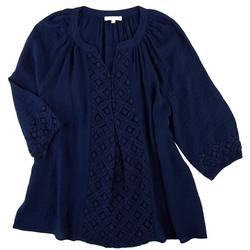 Plus Lacey Slub Solid Blouse