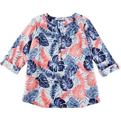 Coral Bay Plus Split Neck Palm Tree Print