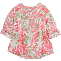Coral Bay Plus Split Neck Tropical Button Down Top