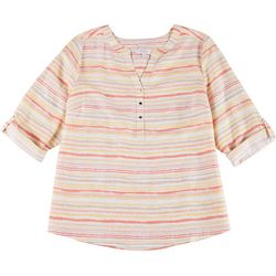 Coral Bay Plus Split Neck Striped Button Down