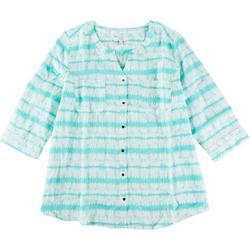 Plus Tie Dye Stripe Pocket Linen Top