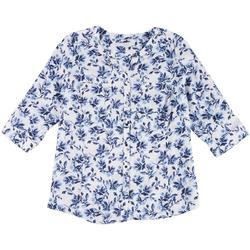Plus Floral Button Down Pocketed Top