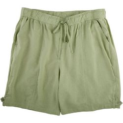 Coral Bay Plus Solid Linen Shorts With Tie