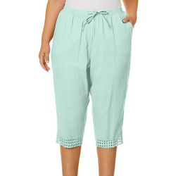 Coral Bay Plus Solid Linen Drawstring Capris