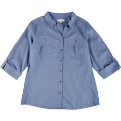 Plus Knit To Fit Solid Collared Button Down Top
