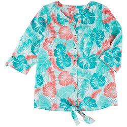 Coral Bay Plus Tie Dye Stripe Pocket Tie Front Linen Top