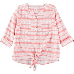 Coral Bay Plus Tie Dye Stripe Pocket Tie Front Linen Top