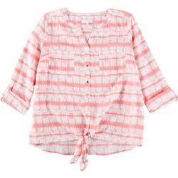 Plus Tie Dye Stripe Pocket Tie Front Linen Top