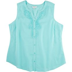 Coral Bay Plus Pink Lace Sleeveless Top