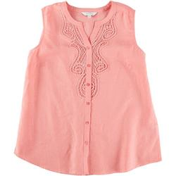 Plus Pink Lace Sleeveless Top