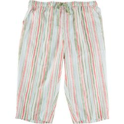 Coral Bay Plus Striped Print Linen Capris