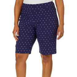 Coral Bay Plus Millennium Anchor Print Bermuda Shorts